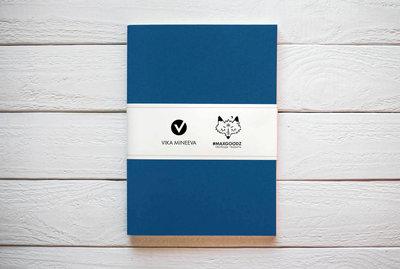 Maxgoodz Скетчбук Large White Синий, A4, 32л, 160г/м2, переплет на нитке
