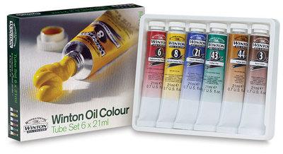 Масляные краски Winton, в наборе, тюбики 6х21мл, в картонной коробке