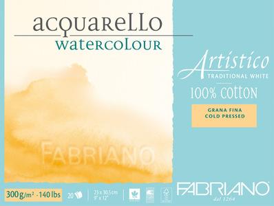 Альбом-склейка для акварели Artistico Traditional White (листы: естеств.белые, зернист, 100% хлопок, хол.пресс, 300г/м2, 20л, 23x30,5см, пейзаж)