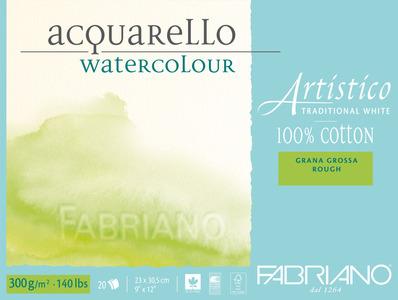 Альбом-склейка для акварели Artistico Traditional White (листы: естеств.белые, крупн.зерно Rough, 100% хлопок, 300г/м2, 20л, 23x30,5см, пейзаж)