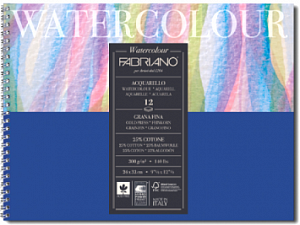 """Альбом для акварели на спирали Fabriano """"Acquarello"""" 32х41 см 12 л 300 г 25% хлопок ,цвет бумаги: белый"""