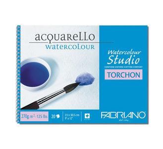 """Альбом-склейка для акварели Fabriano """"Studio Torchon"""" 24х32 см 12 л 270 г, цвет бумаги: белый"""