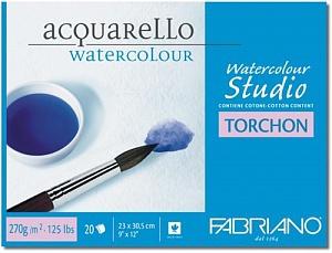 """Блокнот-склейка для акварели Fabriano """"Studio Torchon"""" 23х30 см 20 л 270 г, цвет бумаги: белый"""