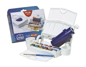 Набор акварели Cotman, ФИЛД ПЛЮС (12 маленьких кювет, кисть компактная №5, палитра, 2 х масленки с возможностью фиксации к коробке, бутылка для воды 60 мл) в пластиковой коробке