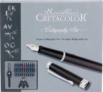 Набор для калиграфии, состав:1 ручка для калиграфиии, 3 сменных пера, 10 картриджей с тушью для калиграфии (5 цветов), картонная коробка
