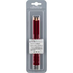 """Набор из 3 профессиональных чернографитовых карандашей """"CLEOS"""" в блистере, твердость H,HB,B"""