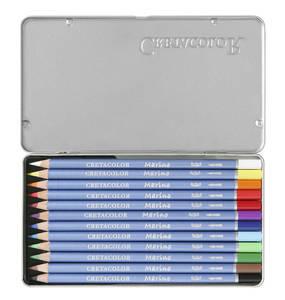 """Набор профессиональных акварельных карандашей """"MARINO"""", 12 цветов в металлической коробке с картонной обложкой"""