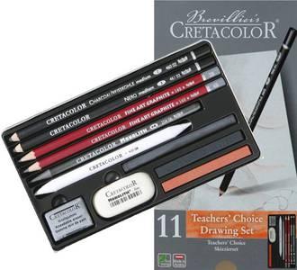 """Художественный набор для учеников """"TEACHER'S CHOICE BEGINNER"""" в металлической коробке с картоновой обложкой, состав: профессиональные чернографитовые карандаши 2В, 4В; карандаш Неро средний, угольный карандаш средний, Чернографитовый карандаш """"MONOLITH"""" 6"""