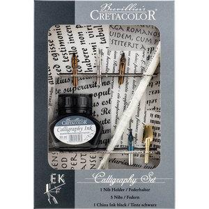Набор для каллиграфии, состав: 5 перьев Leonardt, держатель для пера, чернила для калиграфии