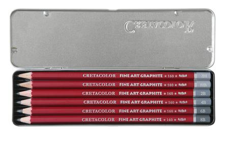 """Набор профессиональных чернографитовых карандашей """"CLEOS"""" 6 карандашей, 6 твердостей(2H,HB,2B,4B,6B,8B), металлическая коробка в картонной обложке"""