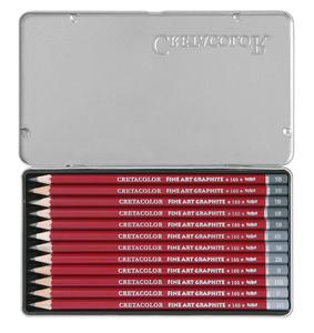 """Набор профессиональных чернографитовых карандашей """"CLEOS"""" 12 карандашей, 12 твердостей(2H,HB,F,B,2B-9B), металлическая коробка в картонной обложке (2H,F,HB - 9B)"""