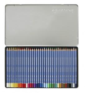 """Набор профессиональных акварельных карандашей """"MARINO"""", 36 цветов в металлической коробке с картонной обложкой"""
