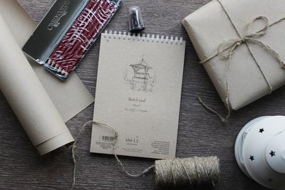 """Альбом SMLT Sketch pad Natural А5 + Набор профессиональных чернографитовых карандашей """"CLEOS"""" + точилка с контейнером"""