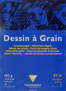 Блокнот DESSIN GRAIN (Склейка) Для рисования. (А4, 180г, 30л) Белый зернистый
