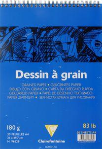 Блокнот DESSIN GRAIN (Спираль) Для рисования. (А4, 180г, 30л) Белый зернистый
