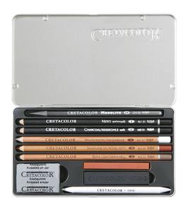 """Художественный набор для эскизов """"ARTINO"""" в металлической коробке, состав: графитовый караднаш """"Monolith"""", карандаш """"Nero"""", угольный карандаш мягкий, натуральный уголь, карандаш белый мел, масляная сангина, светлая сепия, палочка обожженной сангины, уголь"""