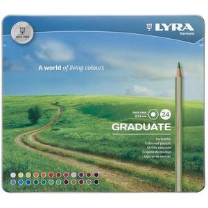 LYRA GRADUATE Гексагональные цветные карандаши, 24 шт., металлический пенал.