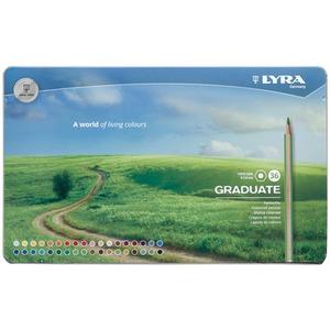 LYRA GRADUATE Гексагональные цветные карандаши, 36 шт., металлический пенал.
