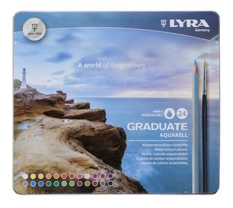 LYRA GRADUATE AQUARELL Акварельные цветные карандаши, 24 шт., металлический пенал.