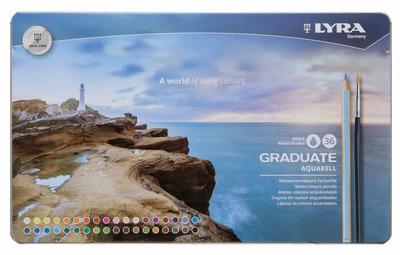 LYRA GRADUATE AQUARELL Акварельные цветные карандаши, 36 шт., металлический пенал.
