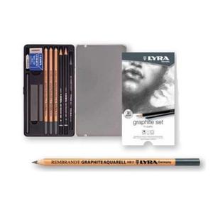 LYRA GRAPHITE SET Карандаши художественные+ластик+пастель 11 предметов  в метал коробке