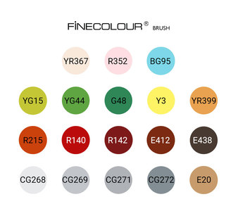 Набор для курса HIGHLIGHTS, 18 маркеров Finecolour BRUSH