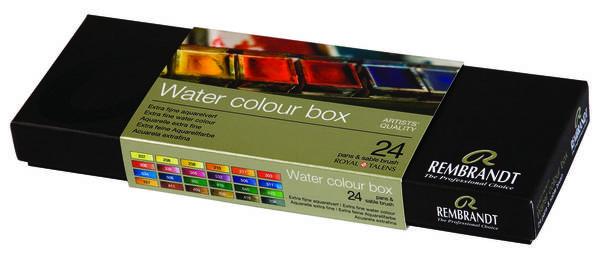 Набор акварельных красок Rembrandt 24 цвета в кюветах. Металлический короб и кисть