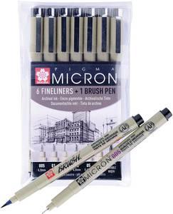 Набор капиллярных ручек Pigma Micron 6шт (0.2мм 025мм 0.3мм 0.35мм 0.45мм 0.5мм) Черный + brush