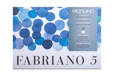Блок для акварели Fabriano 5 300г/м2 (50%хлопок) 36*51см Торшон 20л склейка по 4 сторонам