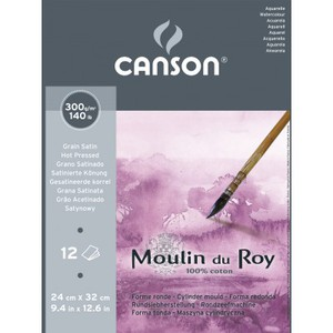 Альбом для акварели Moulin du Roy 300г/м.кв 24*32см 12л Сатин склейка по короткой стороне