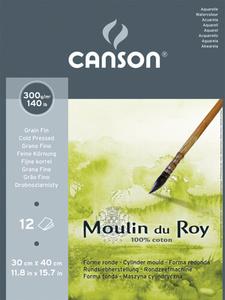 Альбом для акварели Moulin du Roy 300г/м.кв 30*40см 12л Фин склейка по короткой стороне