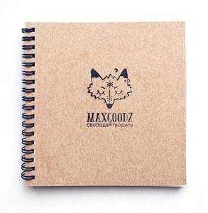 Maxgoodz Скетчбук MIX, 16*16см, 4 вида бумаги, 100-230 г/м2, переплет на пружине