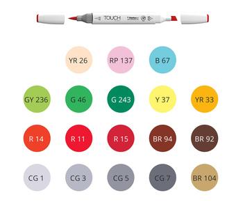 Набор для курса HIGHLIGHTS, 18 маркеров TOUCH BRUSH