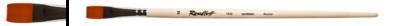 Кисть синтетика плоская 14 на длинной ручке покрытой лаком. Серия 1222